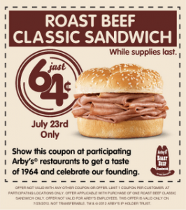 graphic about Arbys Coupons Printable referred to as Arbys 64 cent roast beef coupon : Naughty coupon codes for him