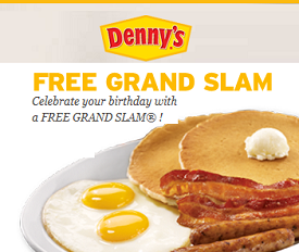 graphic regarding Denny's Printable Coupons called Dennys Free of charge Coupon Grand Slam Evening meal Suggestion Device